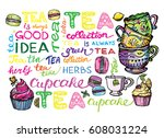 cupcakes and macaroons.hand... | Shutterstock .eps vector #608031224