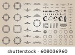 circle and square wicker... | Shutterstock .eps vector #608036960