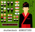 sushi collection concept... | Shutterstock .eps vector #608037350