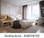 Stock photo modern bedroom interior design with white walls soft beige curtains white furniture and large 608038760