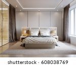 modern bedroom interior design... | Shutterstock . vector #608038769