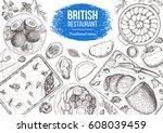british cuisine top view frame. ... | Shutterstock .eps vector #608039459