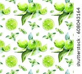 lime and mint seamless pattern. ... | Shutterstock . vector #608043164
