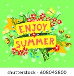 summer floral banner. enjoy... | Shutterstock .eps vector #608043800