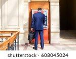 young happy brunette man... | Shutterstock . vector #608045024