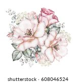 Stock photo watercolor flowers floral illustration pink rose branch of flowers isolated on white background 608046524