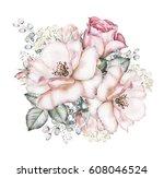 watercolor flowers. floral...   Shutterstock . vector #608046524