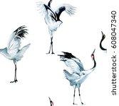 Cranes Pattern Watercolor