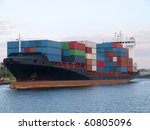 a huge ship heading for a port | Shutterstock . vector #60805096