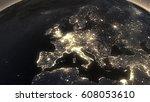 earth night light at central...   Shutterstock . vector #608053610