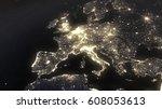 earth night light at central... | Shutterstock . vector #608053613