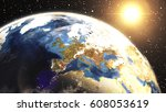earth sunrise at central europe ...   Shutterstock . vector #608053619
