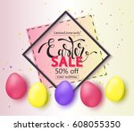 easter sale banner background... | Shutterstock .eps vector #608055350