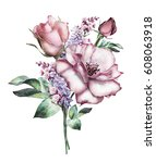 Stock photo watercolor flowers floral illustration flower in pastel colors pink rose branch of flowers 608063918