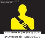 seat belt  badge  vector... | Shutterstock .eps vector #608064173