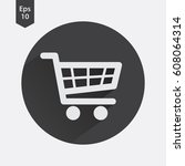 shopping cart flat icon. simple ... | Shutterstock .eps vector #608064314