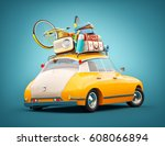 funny retro car with laggage ... | Shutterstock . vector #608066894