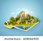 mountain in forest  green... | Shutterstock . vector #608066900