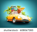 funny retro car with surfboard  ... | Shutterstock . vector #608067383