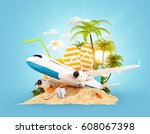 passenger airplane and tropical ... | Shutterstock . vector #608067398