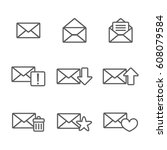 set of mail icon | Shutterstock .eps vector #608079584