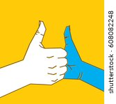 two hand thumbs up and join or... | Shutterstock .eps vector #608082248