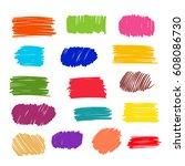 color vector  strokes of marker ... | Shutterstock .eps vector #608086730