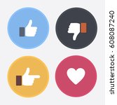 thumbs up and down  heart signs ... | Shutterstock .eps vector #608087240