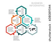 business infographic hexagon | Shutterstock .eps vector #608089544