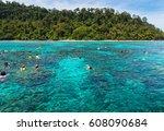 snorkeling at koh rok  andaman...   Shutterstock . vector #608090684