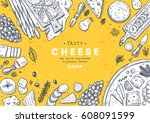 cheese vertical banner... | Shutterstock .eps vector #608091599
