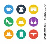clothes icon set | Shutterstock .eps vector #608092670