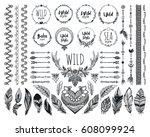 hand drawn boho design elements ... | Shutterstock .eps vector #608099924