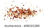 pile crushed red pepper  dried...   Shutterstock . vector #608101280