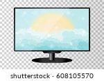 realistic modern tv monitor... | Shutterstock .eps vector #608105570