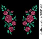 red roses embroidery with... | Shutterstock .eps vector #608106560