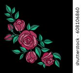 red roses embroidery on black... | Shutterstock .eps vector #608106860