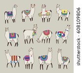 lama animal vector color set | Shutterstock .eps vector #608109806