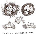 nest set and hatching chicken.... | Shutterstock .eps vector #608111873