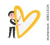 boy with heart shaped harp ... | Shutterstock .eps vector #608113124