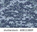 blue pixels camouflage | Shutterstock .eps vector #608113889