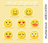 yellow emoticon facial... | Shutterstock .eps vector #608114354
