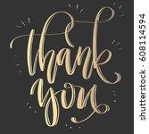 'thank you'   modern lettering... | Shutterstock .eps vector #608114594