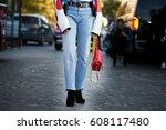 paris october 1  2016. fashion... | Shutterstock . vector #608117480