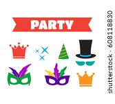 party birthday photo booth... | Shutterstock .eps vector #608118830