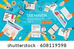 state taxes. tax payment.... | Shutterstock .eps vector #608119598