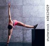 young beautiful sportswoman... | Shutterstock . vector #608124029