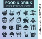 set of pixel perfect food and... | Shutterstock .eps vector #608126354