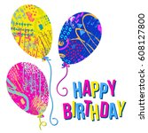 happy birthday card template... | Shutterstock .eps vector #608127800