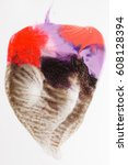 Small photo of Creative modern painting, abstract heart isolated on white background. Art, creativity, abstractionism